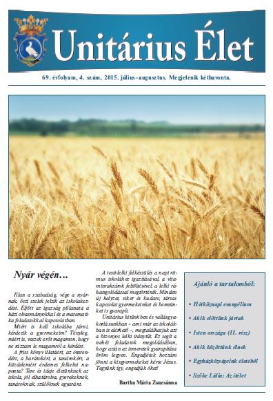 Megjelent az Unitárius Élet 2015. év 4. száma
